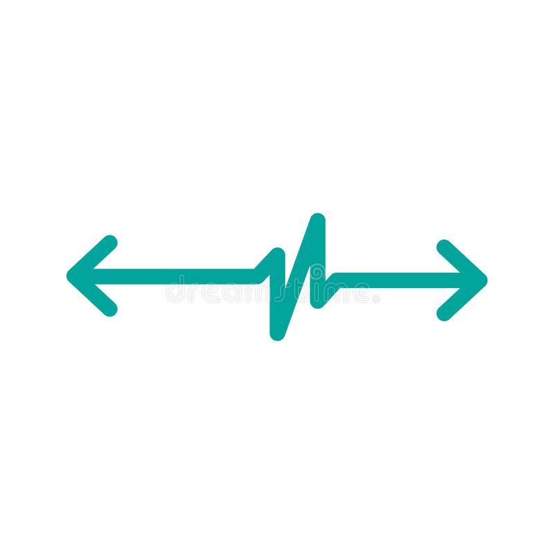 Linear Cardiogram with two opposite direction arrows. Cardiology heart beat monitor. Ecg. Pulse line. Isolated vector illustration vector illustration