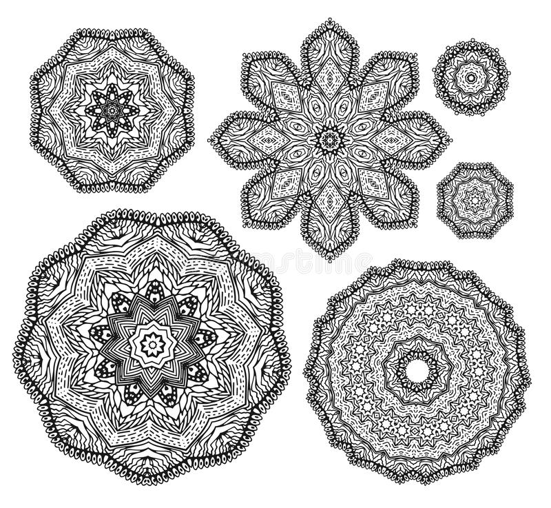 Free Linear Carelessly Drawn By Hand A Vector Sketch Ornamental Mandala Set. Abstract Monochrome Line Art Backdrop Template Royalty Free Stock Images - 94763509
