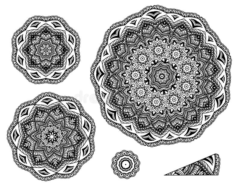 Linear carelessly drawn by hand a vector sketch ornamental mandala set. Abstract monochrome line art backdrop template vector illustration