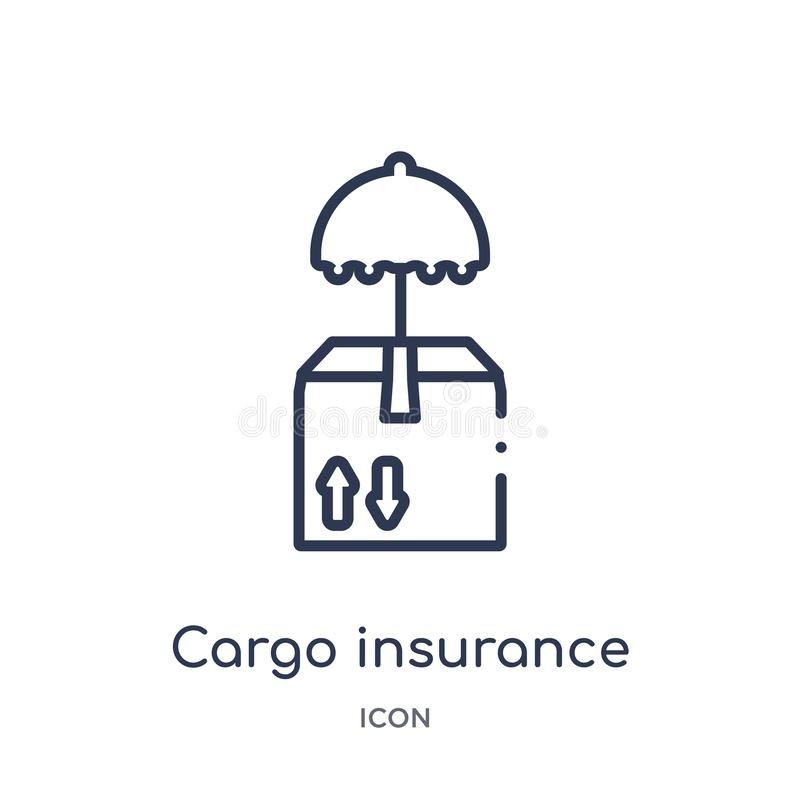Linear cargo insurance icon from Insurance outline collection. Thin line cargo insurance icon isolated on white background. cargo stock illustration