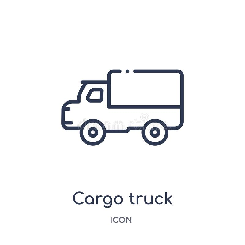 Linear cargo truck icon from Industry outline collection. Thin line cargo truck icon isolated on white background. cargo truck stock illustration