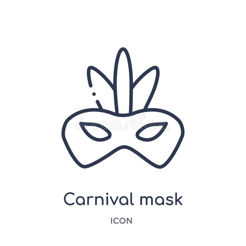 Linear carnival mask icon from Christmas outline collection. Thin line carnival mask vector isolated on white background. carnival royalty free illustration
