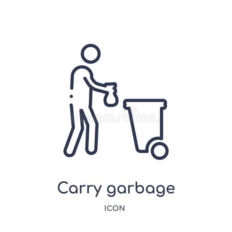 Linear carry garbage icon from Behavior outline collection. Thin line carry garbage vector isolated on white background. carry stock illustration