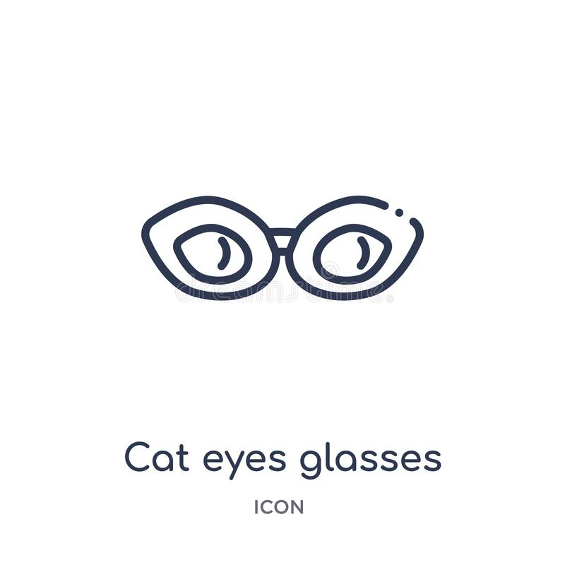 Linear cat eyes glasses icon from Fashion outline collection. Thin line cat eyes glasses icon isolated on white background. cat royalty free illustration