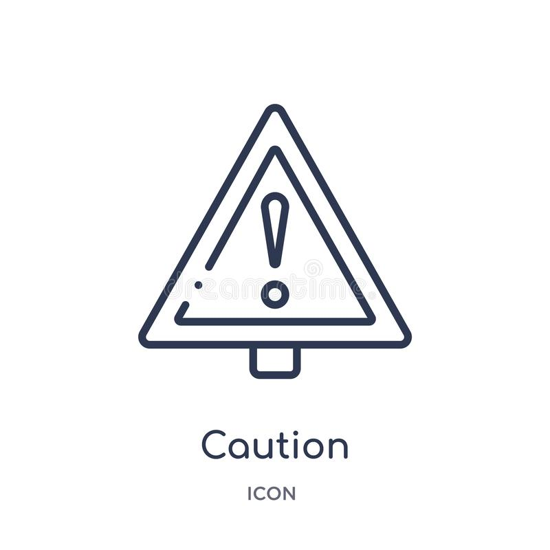 Linear caution icon from Alert outline collection. Thin line caution vector isolated on white background. caution trendy stock illustration