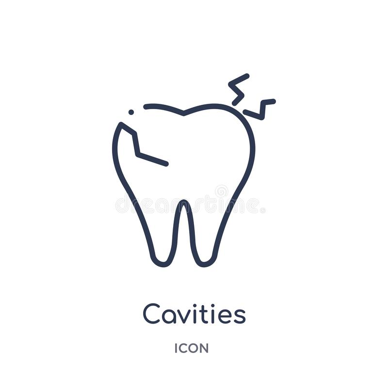 Linear cavities icon from Dentist outline collection. Thin line cavities icon isolated on white background. cavities trendy. Illustration stock illustration