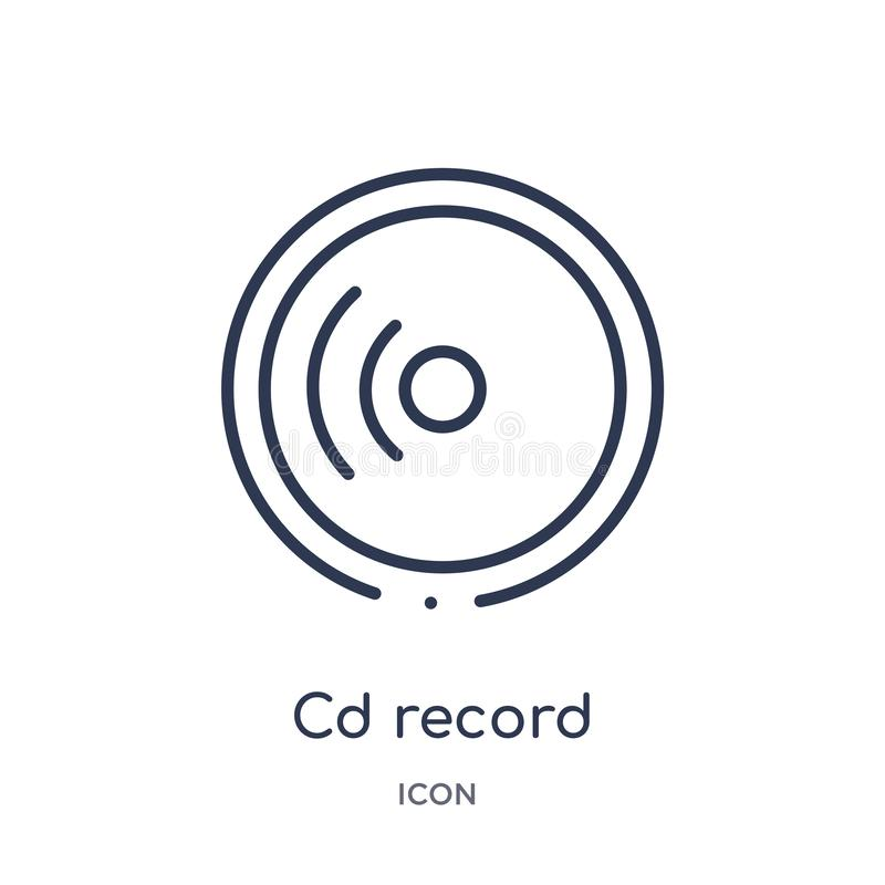 Linear cd record icon from General outline collection. Thin line cd record icon isolated on white background. cd record trendy stock illustration