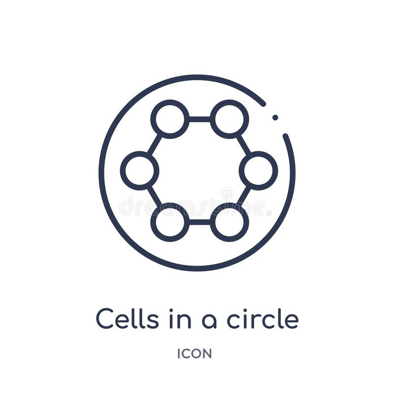 Linear cells in a circle icon from Medical outline collection. Thin line cells in a circle icon isolated on white background. stock illustration