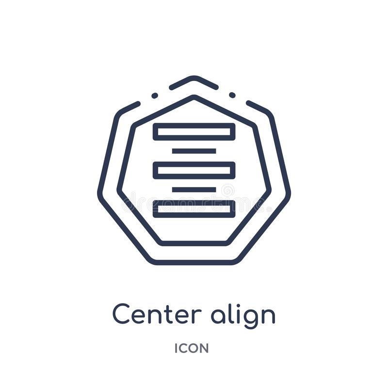 Linear center align icon from Arrows outline collection. Thin line center align vector isolated on white background. center align stock illustration