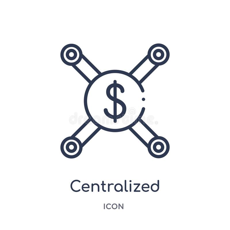 Linear centralized connections icon from Business outline collection. Thin line centralized connections icon isolated on white royalty free illustration