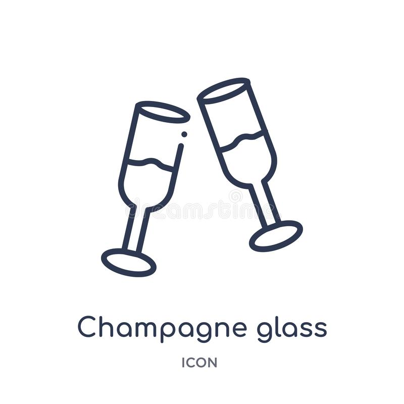 Linear champagne glass icon from Food and restaurant outline collection. Thin line champagne glass icon isolated on white stock illustration
