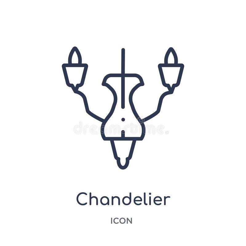 Linear chandelier icon from Furniture outline collection. Thin line chandelier icon isolated on white background. chandelier stock illustration