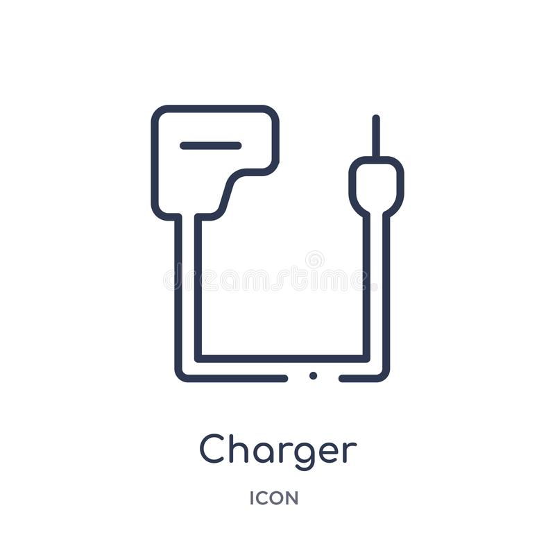 Linear charger icon from Electrian connections outline collection. Thin line charger vector isolated on white background. charger stock illustration