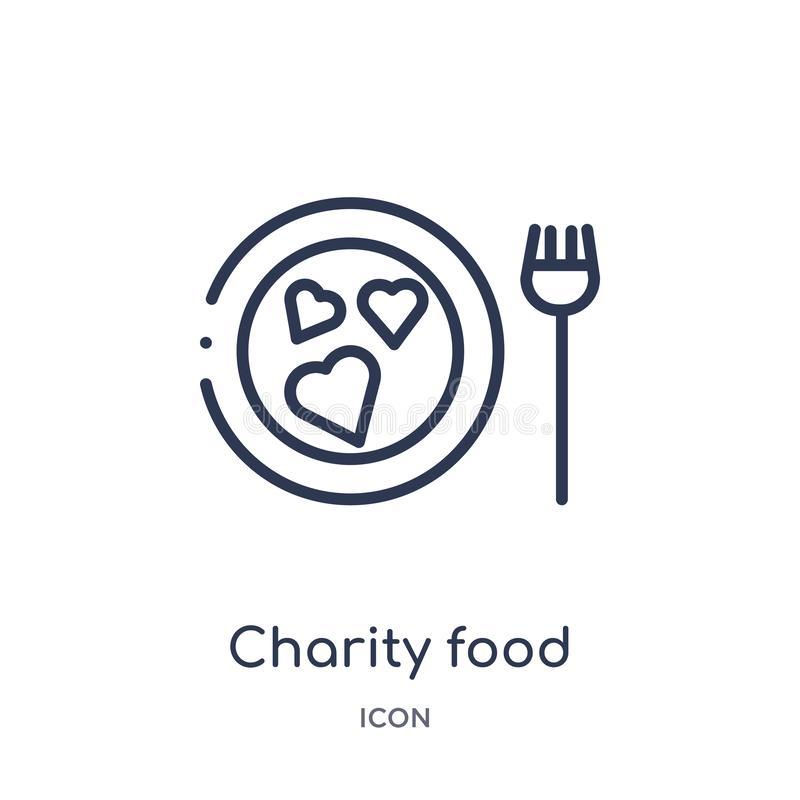 Linear charity food icon from Charity outline collection. Thin line charity food vector isolated on white background. charity food stock illustration