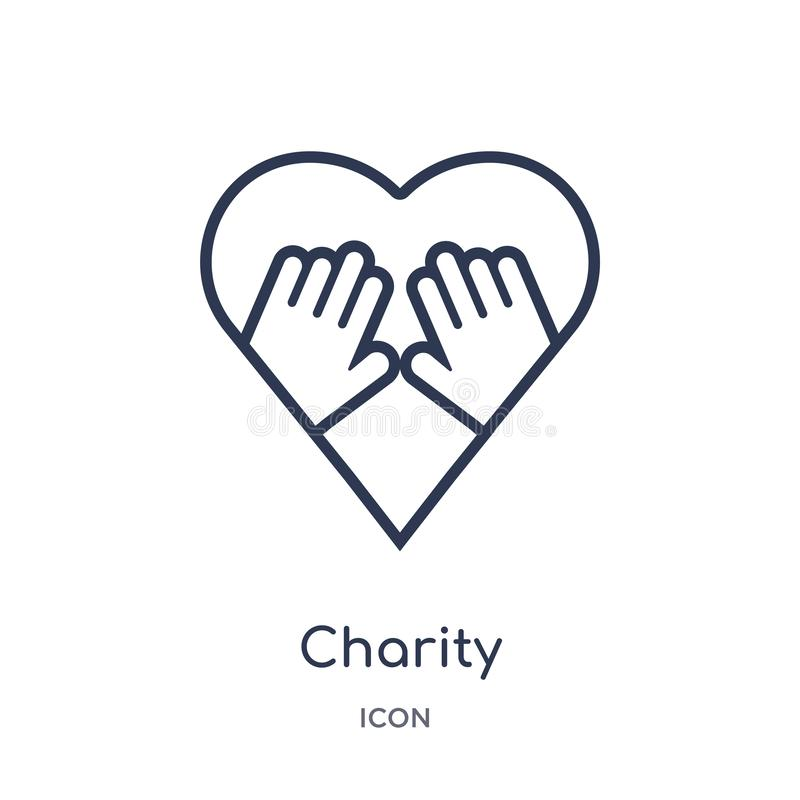 Linear charity icon from Charity outline collection. Thin line charity vector isolated on white background. charity trendy stock illustration