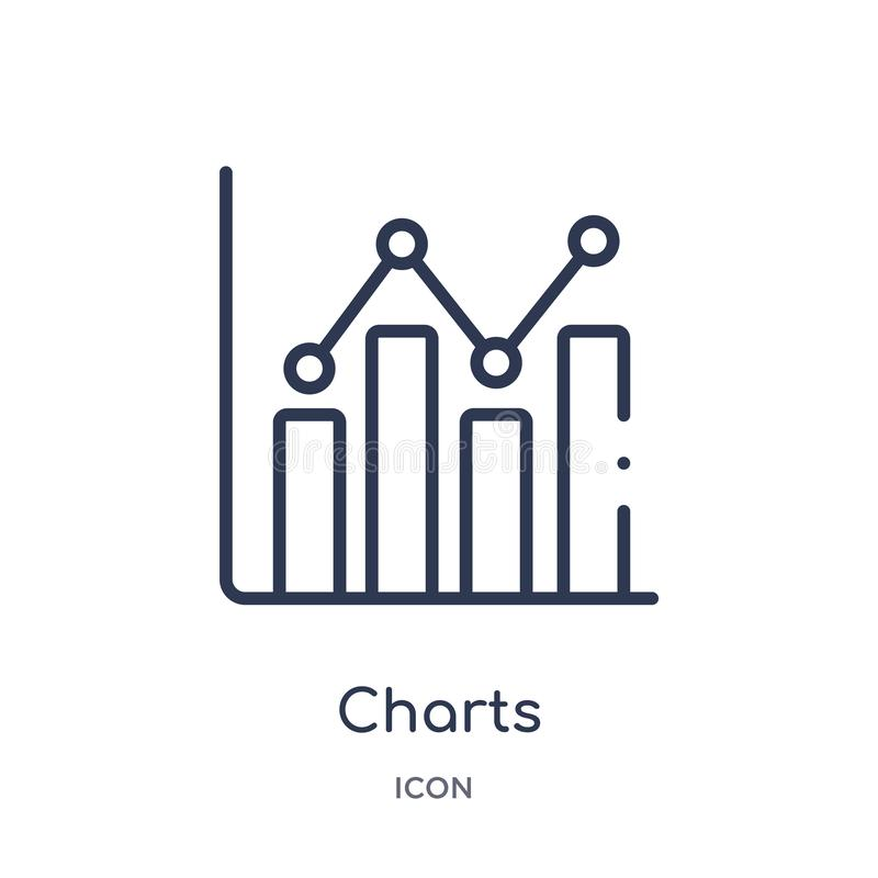 Linear charts icon from Business and analytics outline collection. Thin line charts vector isolated on white background. charts royalty free illustration
