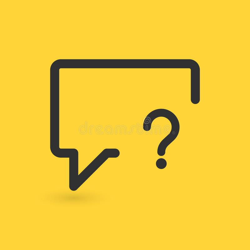 Linear chat bubble with Question mark sign icon. Help speech bubble symbol. FAQ sign. Vector illustration isolated on yellow backg. Round royalty free illustration