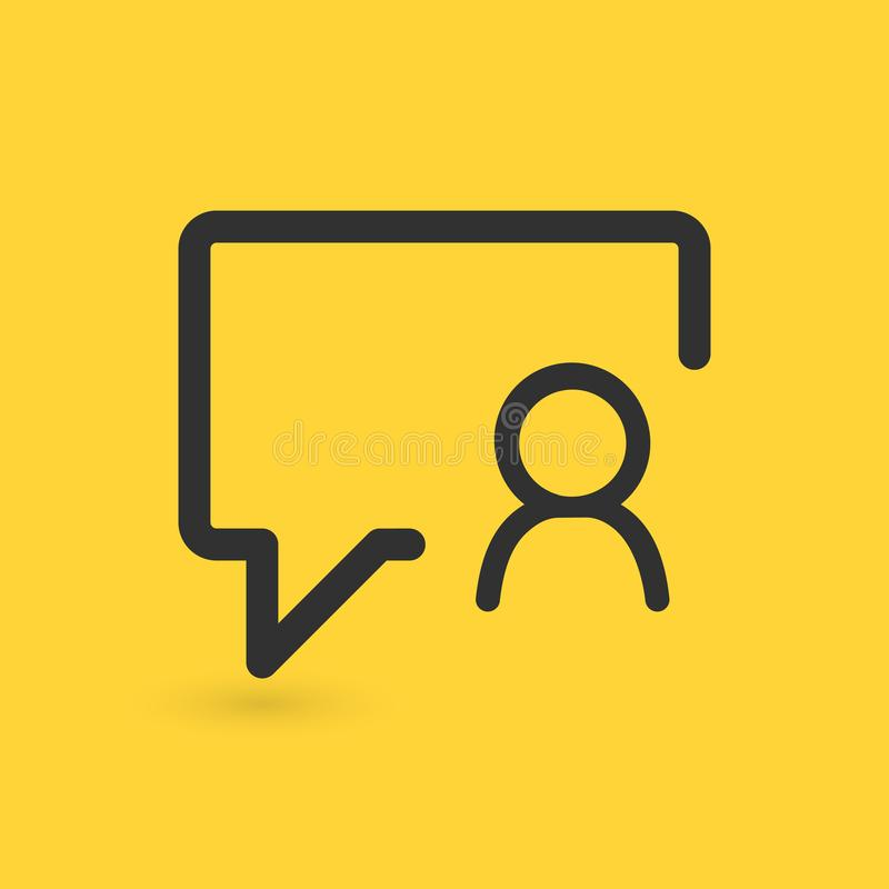 Linear chat bubble User Icon, Person Profile. Vector illustration isolated on yellow background. Linear chat bubble User Icon, Person Profile. Vector vector illustration
