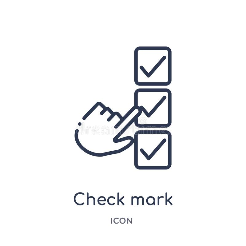 Linear check mark icon from Education outline collection. Thin line check mark vector isolated on white background. check mark vector illustration