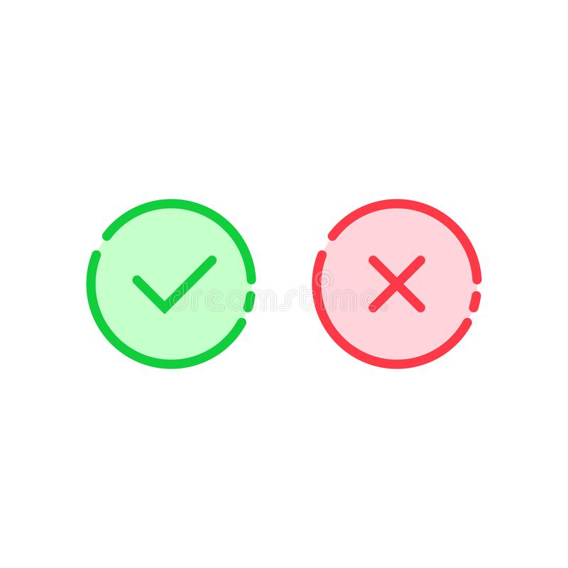 Linear check mark icon like tick and cross royalty free illustration