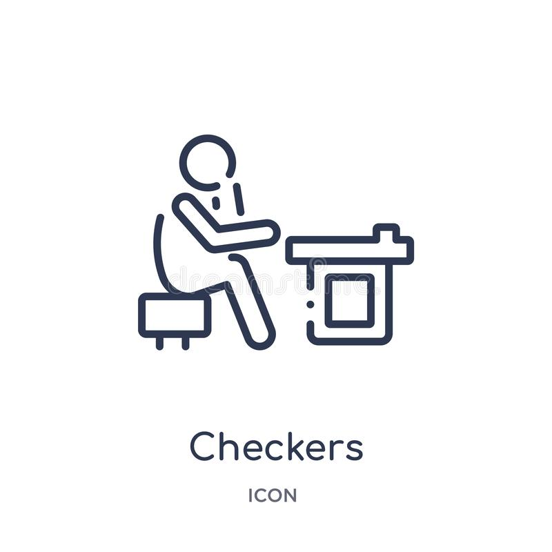 Linear checkers icon from Activity and hobbies outline collection. Thin line checkers vector isolated on white background. vector illustration