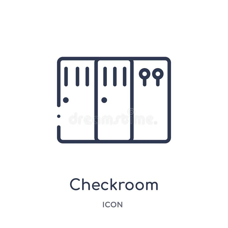 Linear checkroom icon from Hotel and restaurant outline collection. Thin line checkroom icon isolated on white background. royalty free illustration