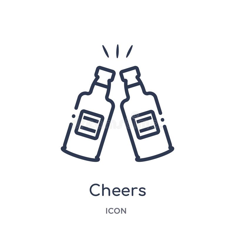 Linear cheers icon from Alcohol outline collection. Thin line cheers vector isolated on white background. cheers trendy vector illustration