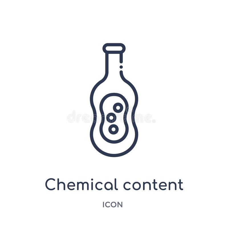 Linear chemical content icon from Education outline collection. Thin line chemical content icon isolated on white background. stock illustration
