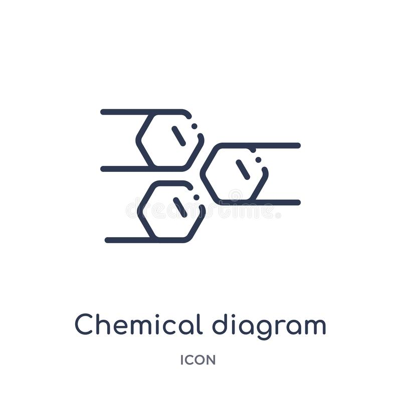 Linear chemical diagram icon from Education outline collection. Thin line chemical diagram icon isolated on white background. stock illustration
