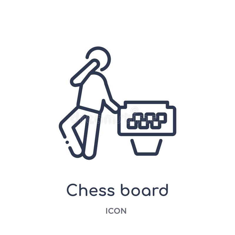 Linear chess board icon from Free time outline collection. Thin line chess board vector isolated on white background. chess board royalty free illustration