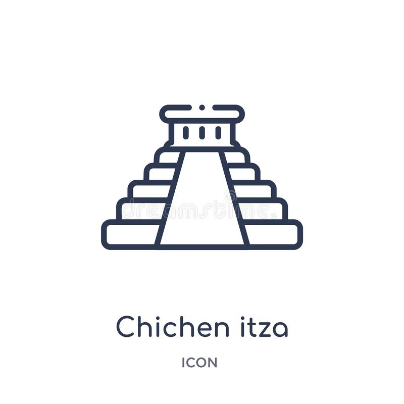 Linear chichen itza icon from Buildings outline collection. Thin line chichen itza vector isolated on white background. chichen royalty free illustration