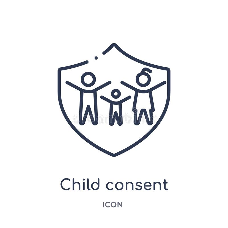Linear child consent icon from Gdpr outline collection. Thin line child consent icon isolated on white background. child consent royalty free illustration