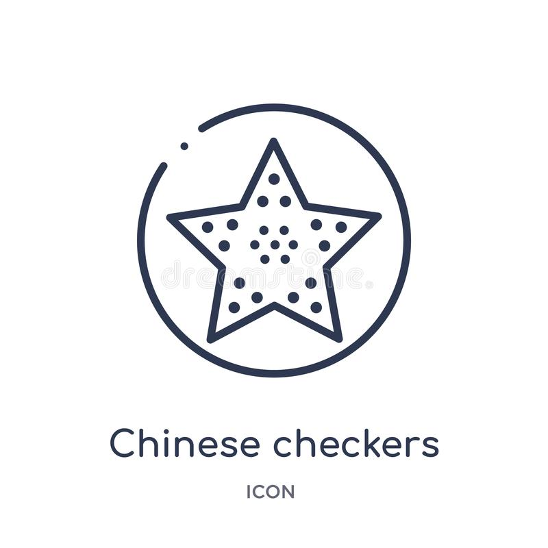 Linear chinese checkers icon from Entertainment outline collection. Thin line chinese checkers icon isolated on white background. stock illustration