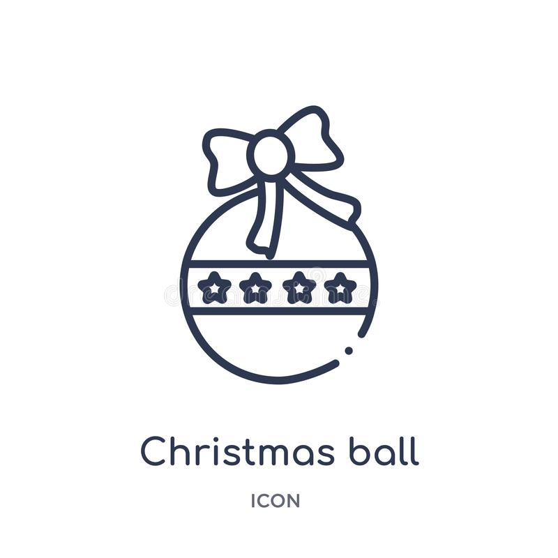 Linear christmas ball icon from Christmas outline collection. Thin line christmas ball vector isolated on white background. Christmas ball trendy illustration royalty free illustration