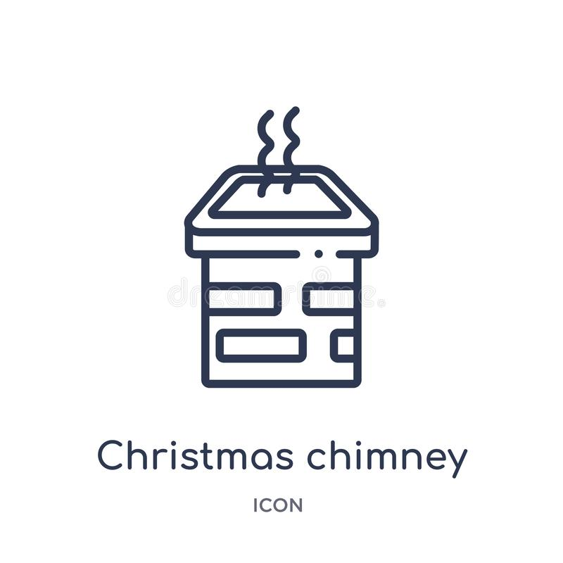 Linear christmas chimney icon from Christmas outline collection. Thin line christmas chimney vector isolated on white background. vector illustration