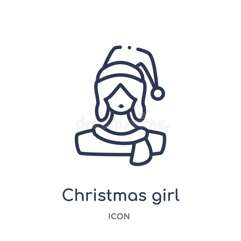 Linear christmas girl icon from Christmas outline collection. Thin line christmas girl vector isolated on white background. vector illustration