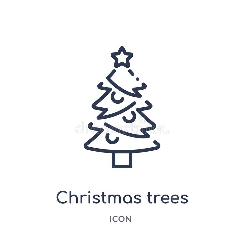 Linear christmas trees icon from Ecology outline collection. Thin line christmas trees vector isolated on white background. stock illustration