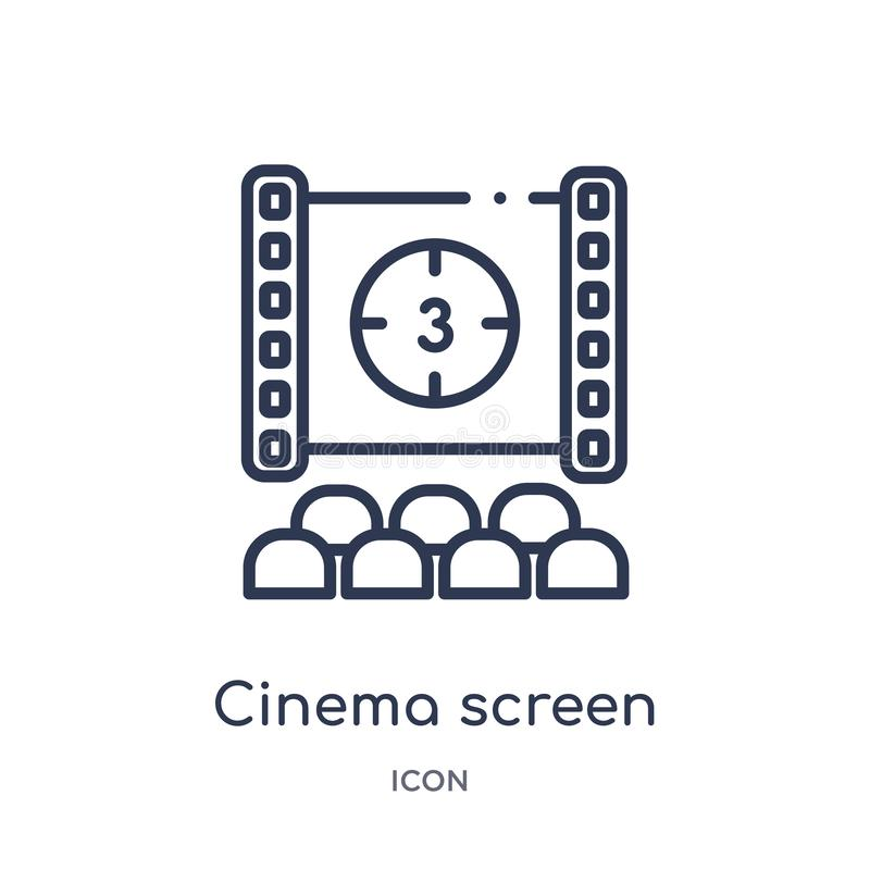Linear cinema screen icon from Cinema outline collection. Thin line cinema screen vector isolated on white background. cinema royalty free illustration