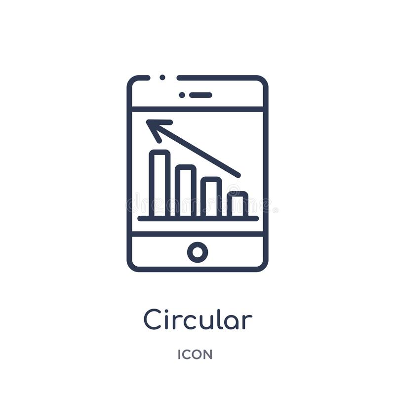 Linear circular graphic of mobile icon from Business and analytics outline collection. Thin line circular graphic of mobile vector vector illustration