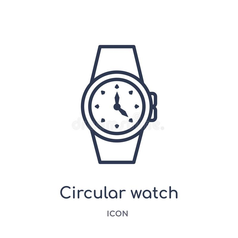 Linear circular watch icon from General outline collection. Thin line circular watch icon isolated on white background. circular royalty free illustration