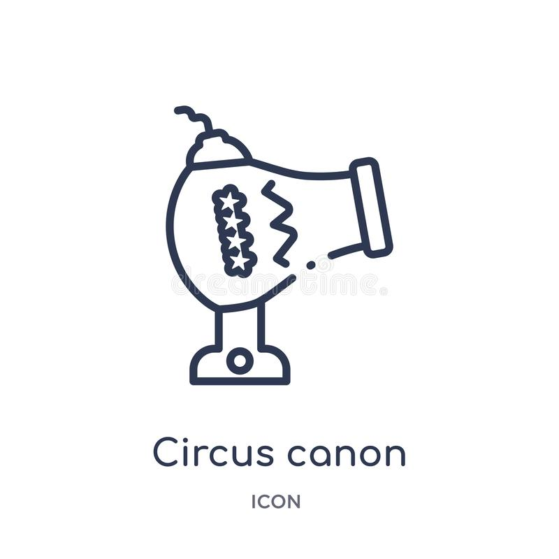 Linear circus canon icon from Circus outline collection. Thin line circus canon vector isolated on white background. circus canon stock illustration