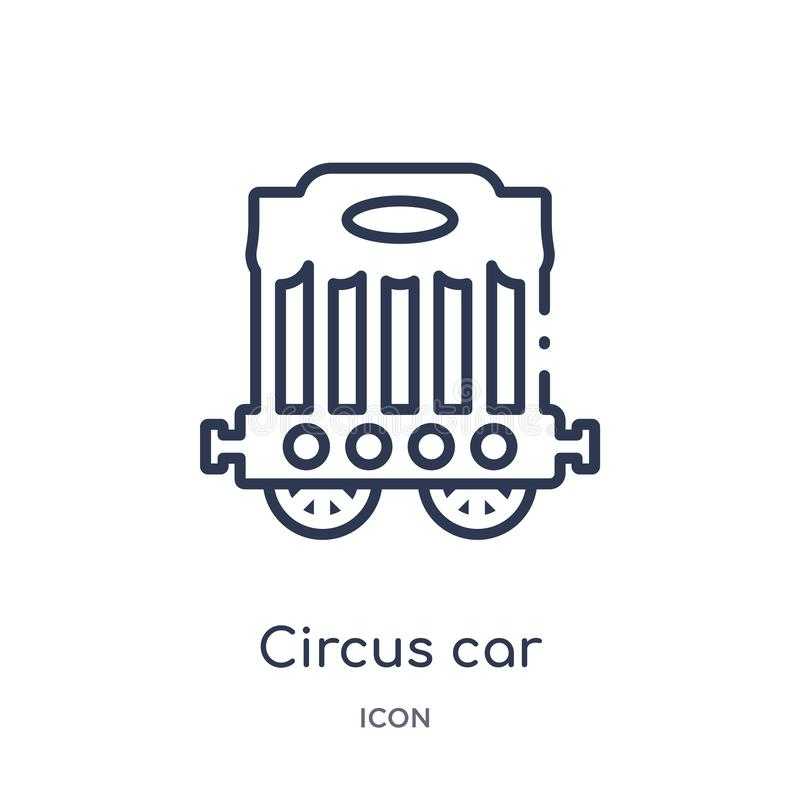 Linear circus car icon from Circus outline collection. Thin line circus car vector isolated on white background. circus car trendy. Illustration royalty free illustration