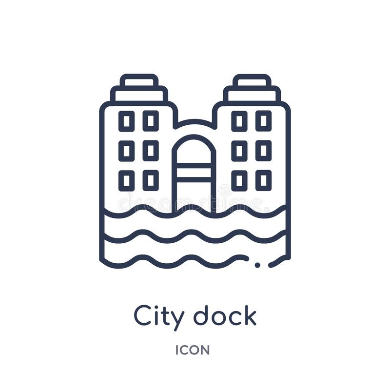 Linear city dock icon from Buildings outline collection. Thin line city dock icon isolated on white background. city dock trendy royalty free illustration
