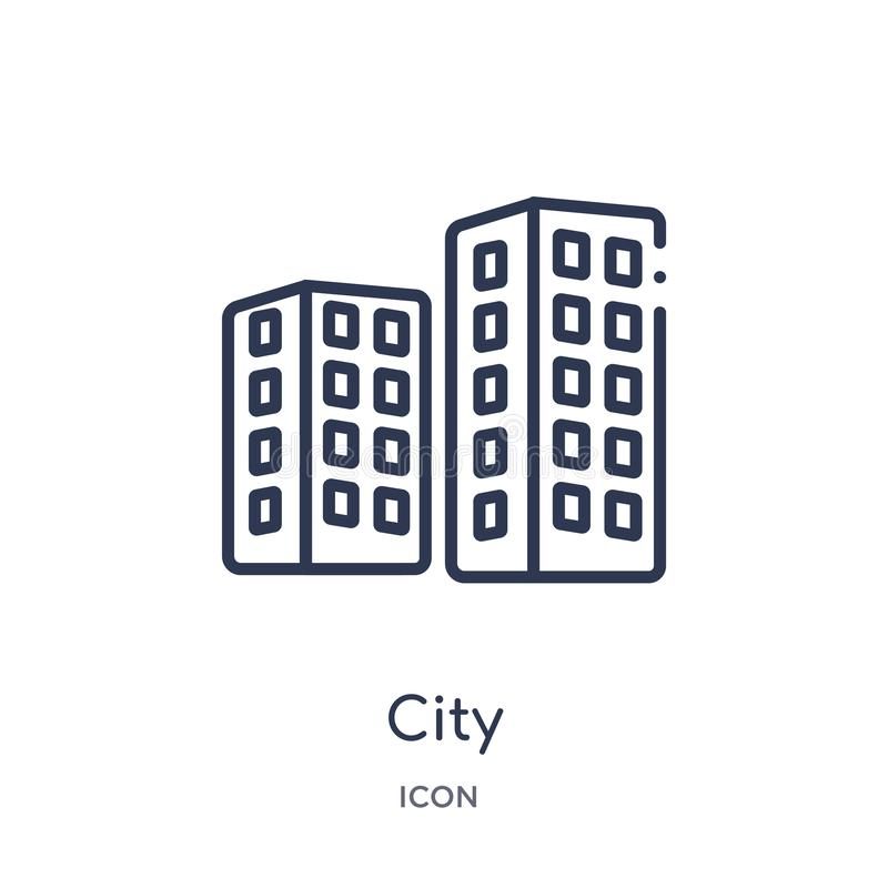 Linear city icon from Ethics outline collection. Thin line city vector isolated on white background. city trendy illustration. Icon royalty free illustration