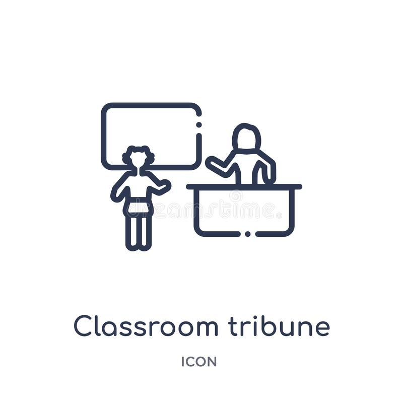 Linear classroom tribune icon from Education outline collection. Thin line classroom tribune icon isolated on white background. royalty free illustration