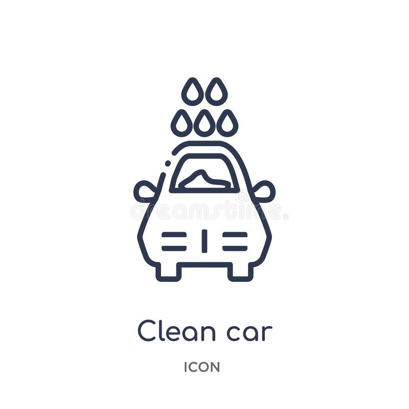 Linear clean car icon from Cleaning outline collection. Thin line clean car vector isolated on white background. clean car trendy royalty free illustration