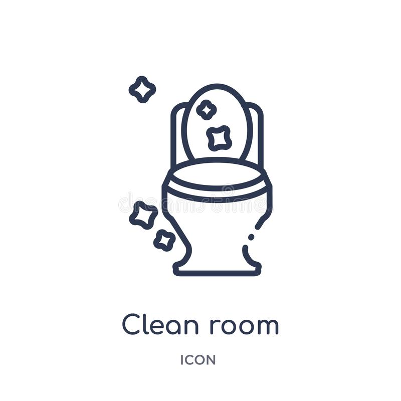 Linear clean room icon from Cleaning outline collection. Thin line clean room vector isolated on white background. clean room stock illustration