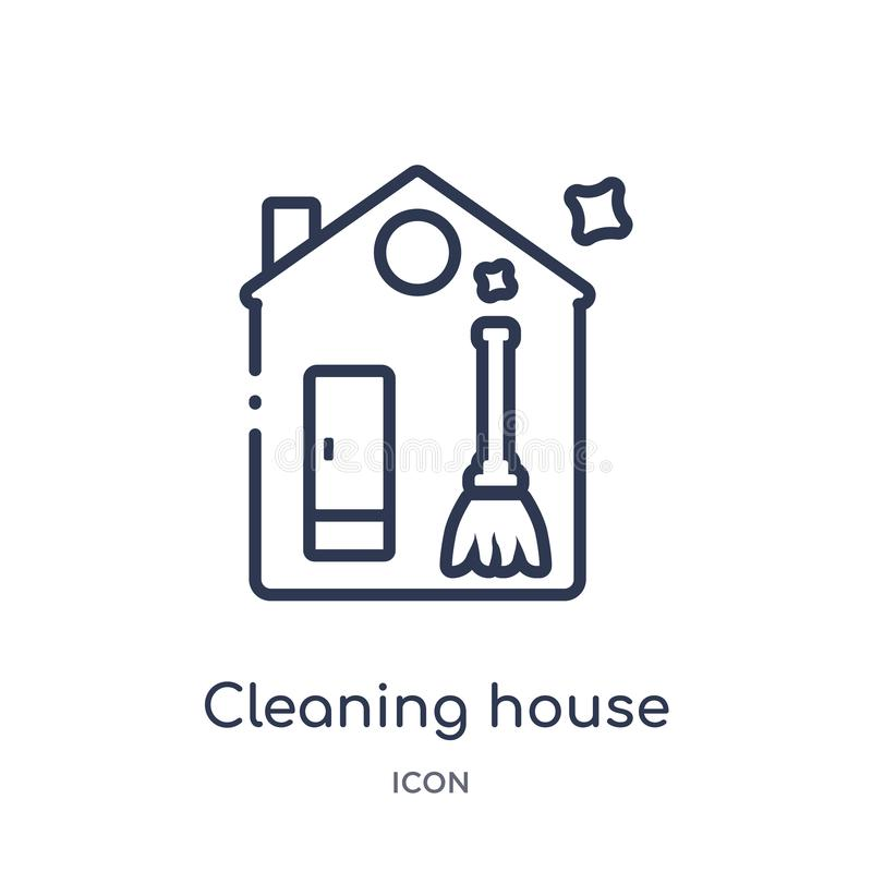 Linear cleaning house icon from Cleaning outline collection. Thin line cleaning house vector isolated on white background. vector illustration