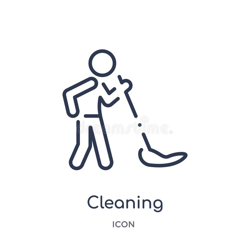 Linear cleaning icon from Activity and hobbies outline collection. Thin line cleaning vector isolated on white background. stock illustration