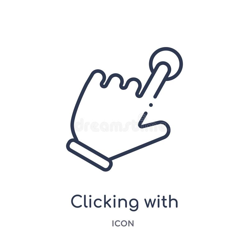 Linear clicking with the left hand icon from Hands and guestures outline collection. Thin line clicking with the left hand icon royalty free illustration